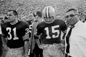 Vince Lombardi with Jim Taylor and Bart Starr