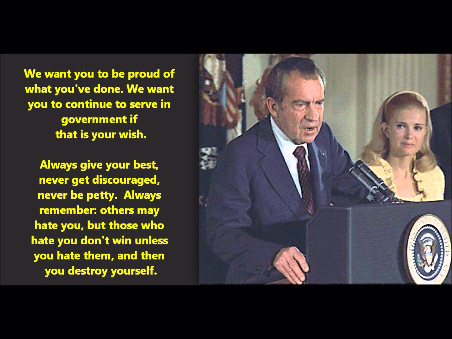 Tim Gracyk: President Richard Nixon's- Emotional, Historic, Powerful Farewell Speech: August, 9th 1974
